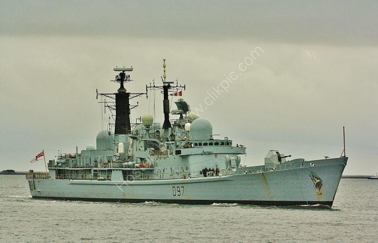 Ref RNGB(DTY)4 HMS Edinburgh D97 Royal Navy Type 42 Destroyer Plymouth Sound Devon Gt Britain 2012 (C)RLT Aviation And Maritime Images 2018