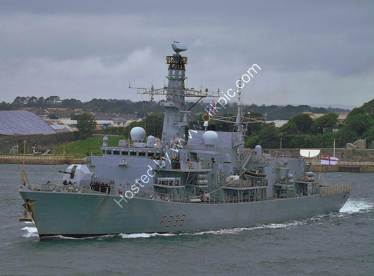 Ref RNGB(FRG)76 HMS Northumberland F238 Royal Navy Type 23 Duke Class Frigate Leaving RN Devonport Dockyard Plymouth Devon GB 2020 (C)RLT Aviation And Maritime Images 2020 opt