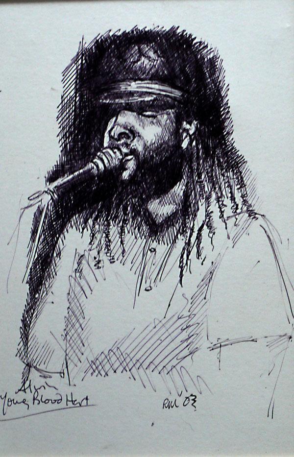 Alvin Young Bloodheart, ballpoint biro drawing