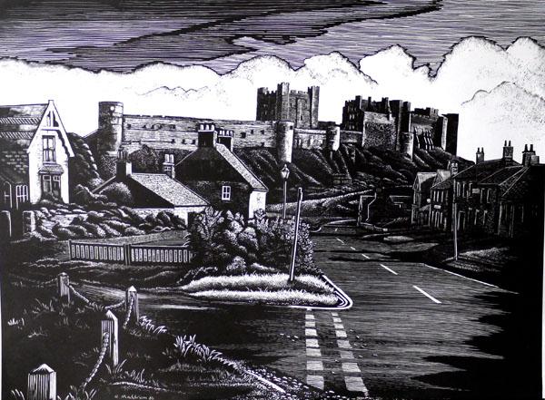 Bamborough Castle- Northumberland- Scraperboard