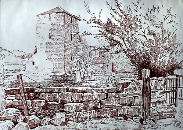 Edlingham Church, Northumberland. pen and ink drawing
