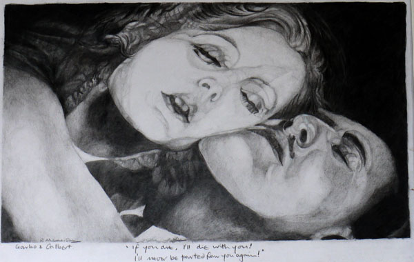 Garbo and Gilbert, pencil drawing