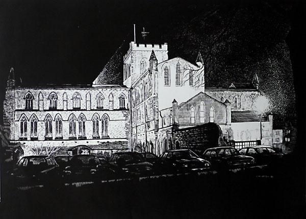 Hexham Abbey- scraperboard