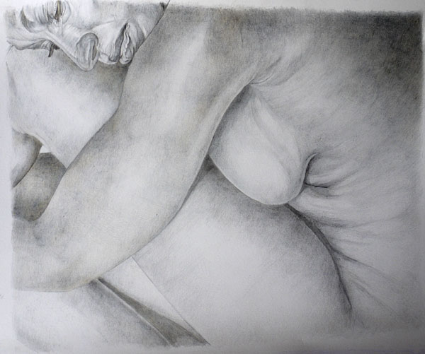 Metalpoint drawing, nude