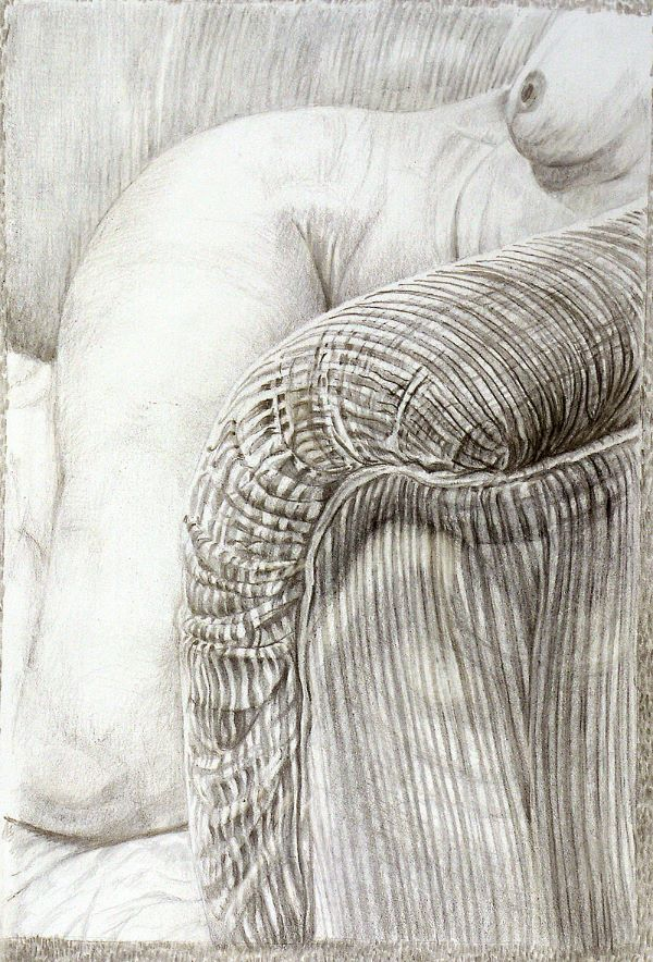 Metalpoint: nude and chair