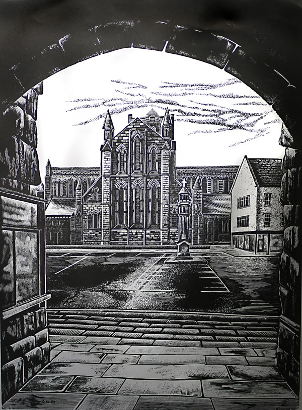 Moot Hall, Hexham, Scraperboard drawing