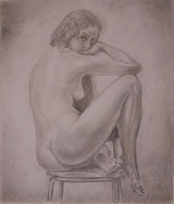 Nude drawing in goldpoint and metalpoint