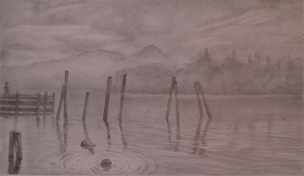 Derwentwater, early morning mist, Gold and silverpoint drawing