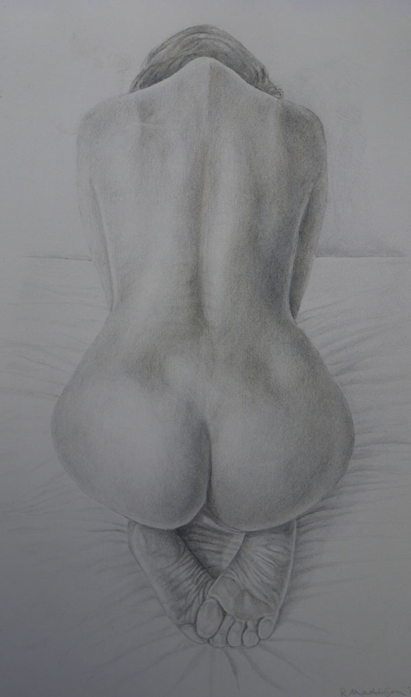Nude. Gold and silverpoint drawing on prepared paper