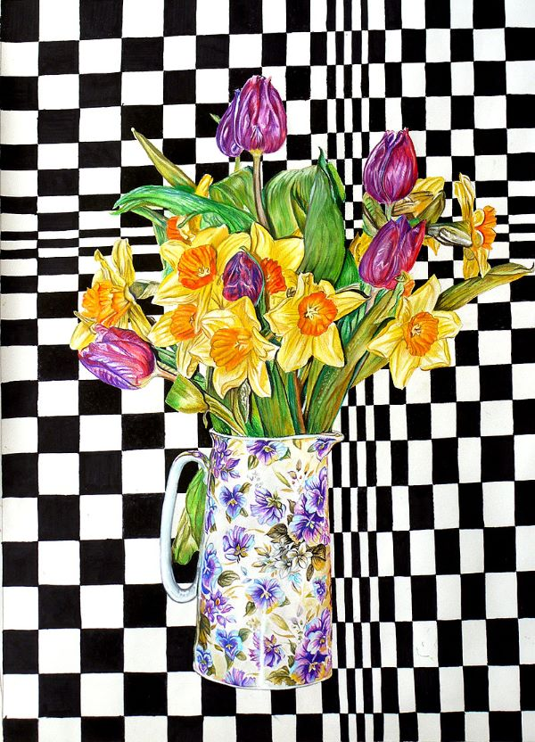 Tulip still life in front of Bridget Riley