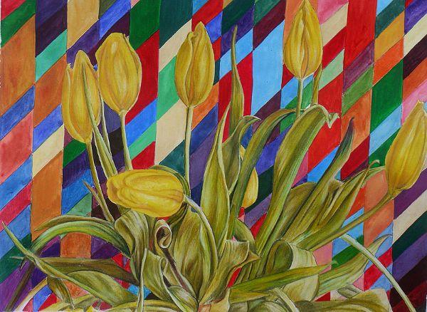 Tulips in front of Bridget Riley