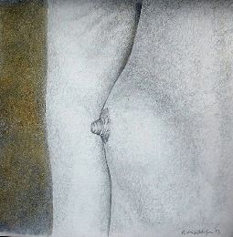 Pointilist nude drawing in silverpoint and goldpoint