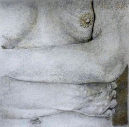Pointilist Nude Drawing. Silverpoint and Goldpoint.