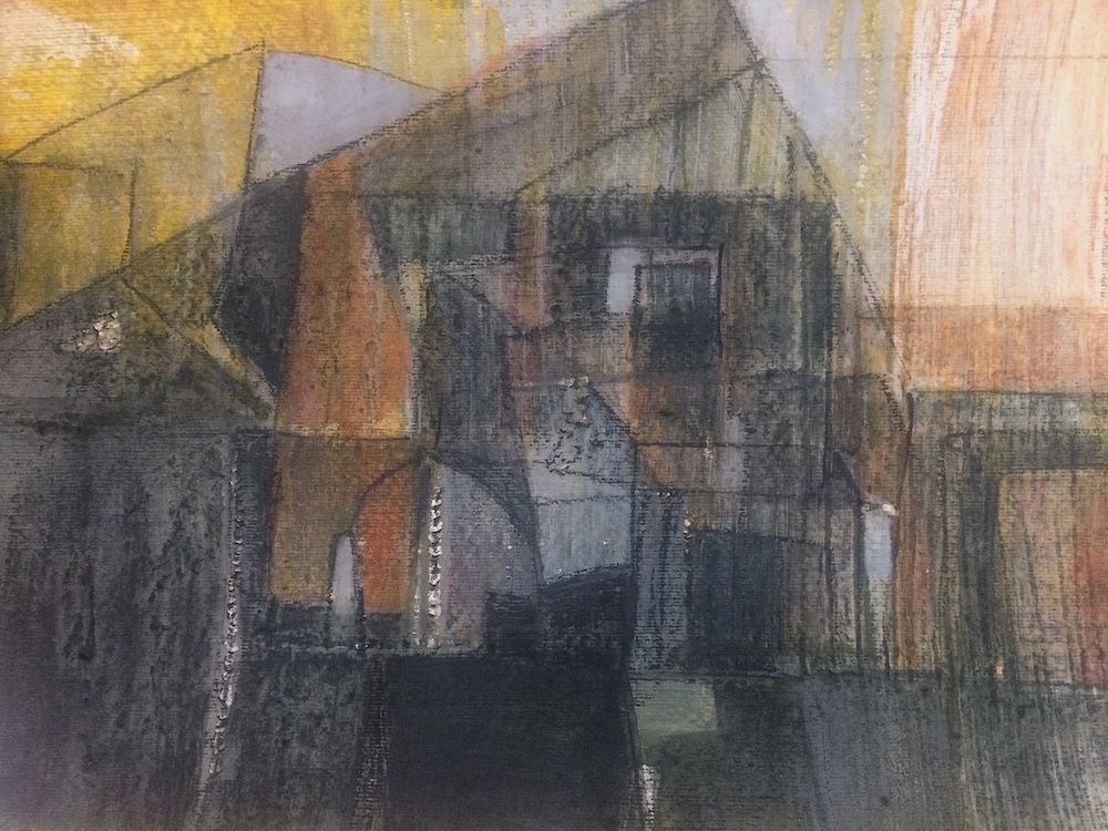 Mysterious graphite and acrylic on paper. Darks and autumnal colours. Suggestions of buildings.