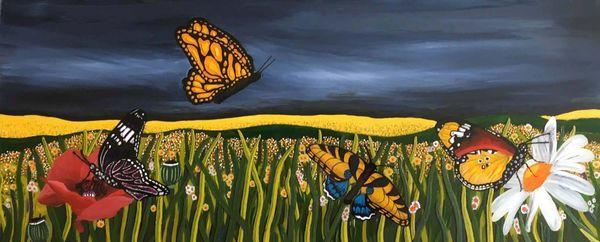 Butterflies over stormy skies