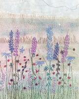 Delphiniums textile art