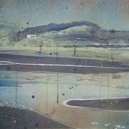 Cramond Island Study - 56 x 39 cm - Spray paint, acrylic and ink on paper (framed)