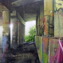 Edgelands - 89x56cm - Toner transfer, acrylic, spraypaint and oil on canvas over panel