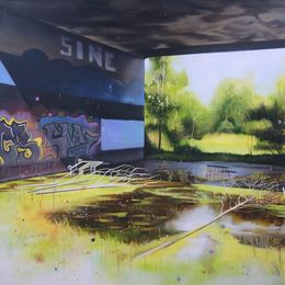Underpass - 95 x 110cm - Acrylic, oil and spraypaint on canvas