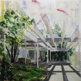 Pavilion (interior) 122 x 122cm -  Oil, oil stick and spray paint on board (Private collection)