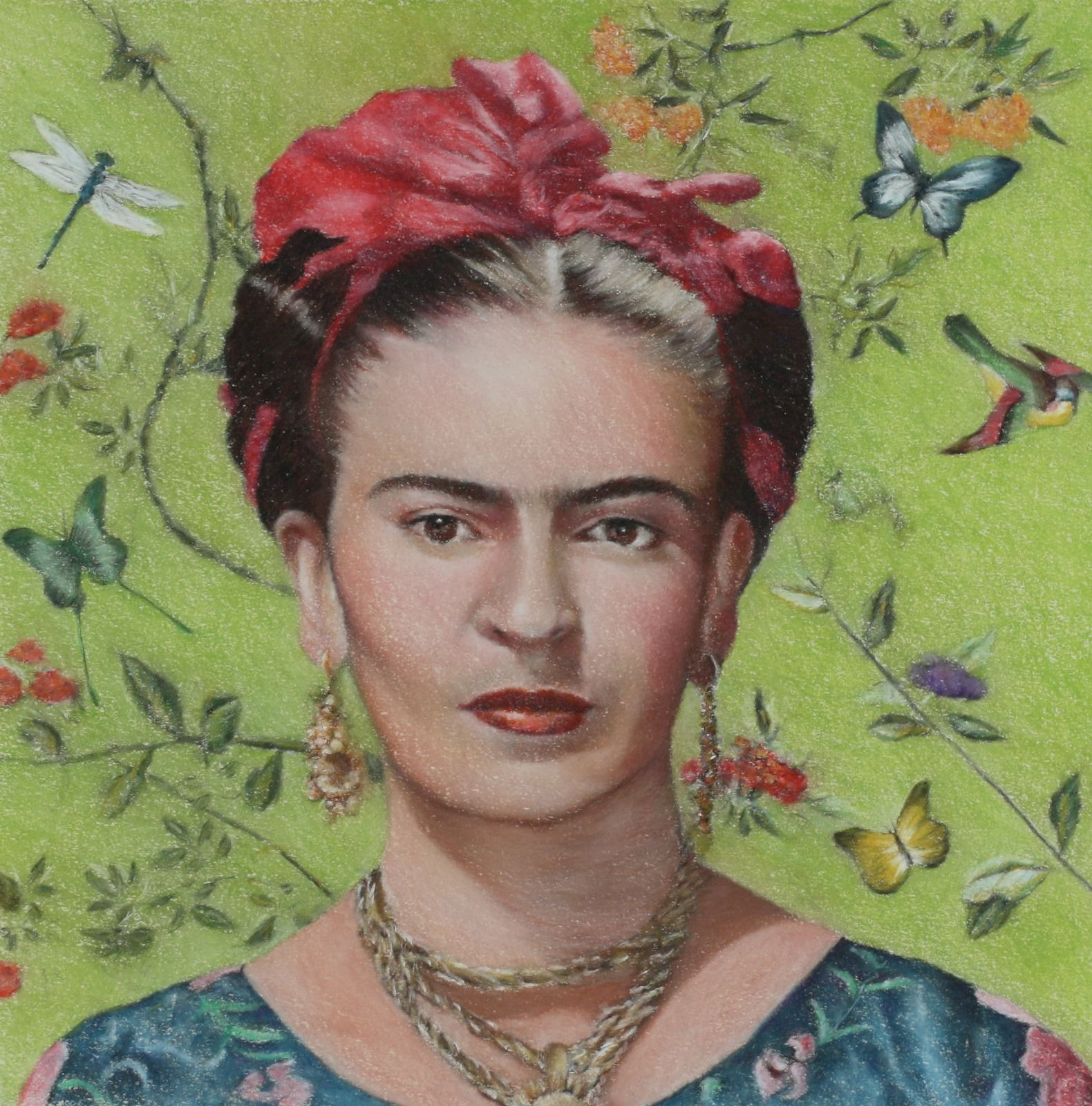Frida Kahlo Green background