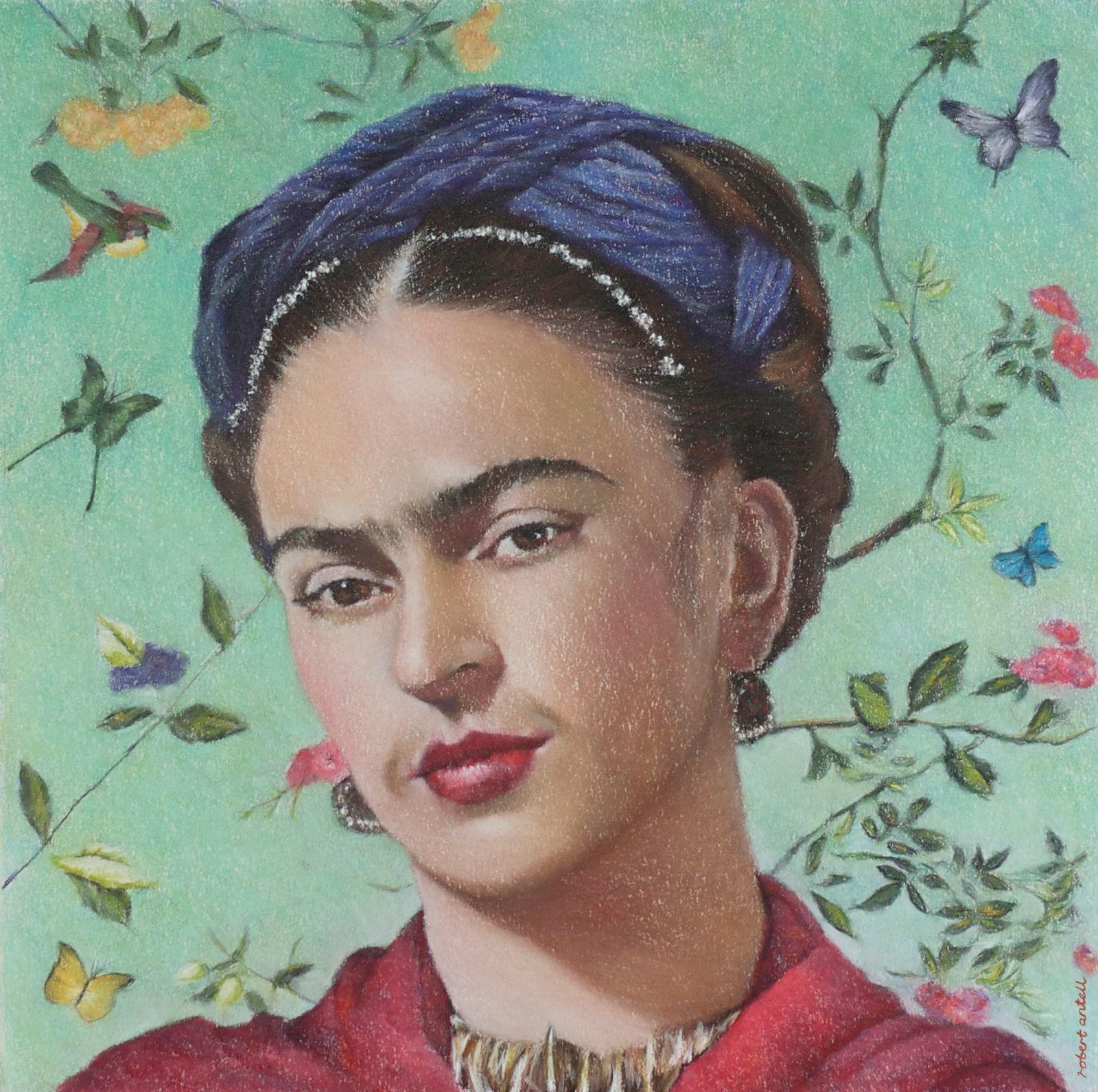 Frida Kahlo Teal background
