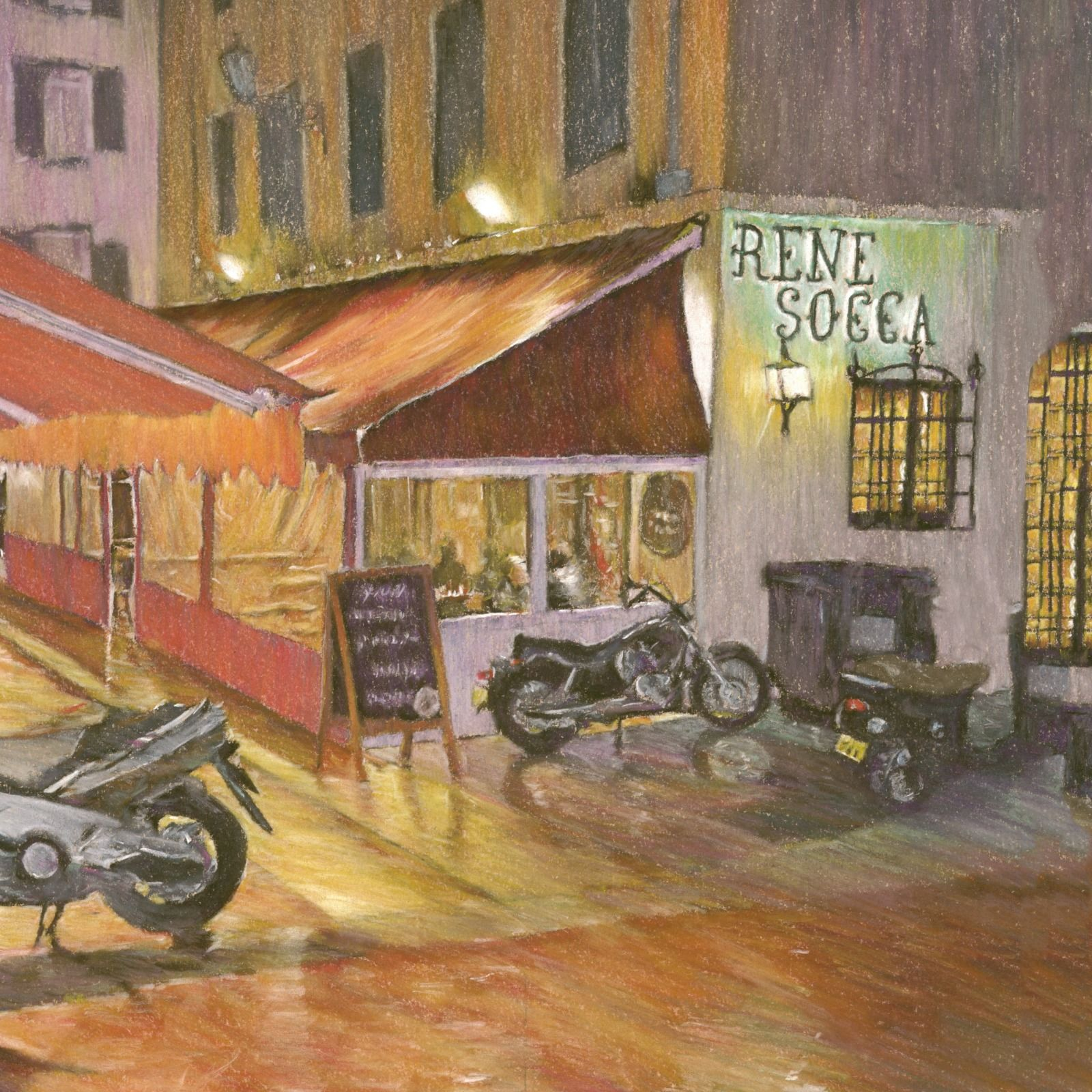 Cafe in the rain, Nice, S. France