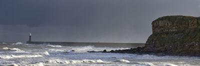 Across St Edward's Bay, Tynemouth on a stormy day