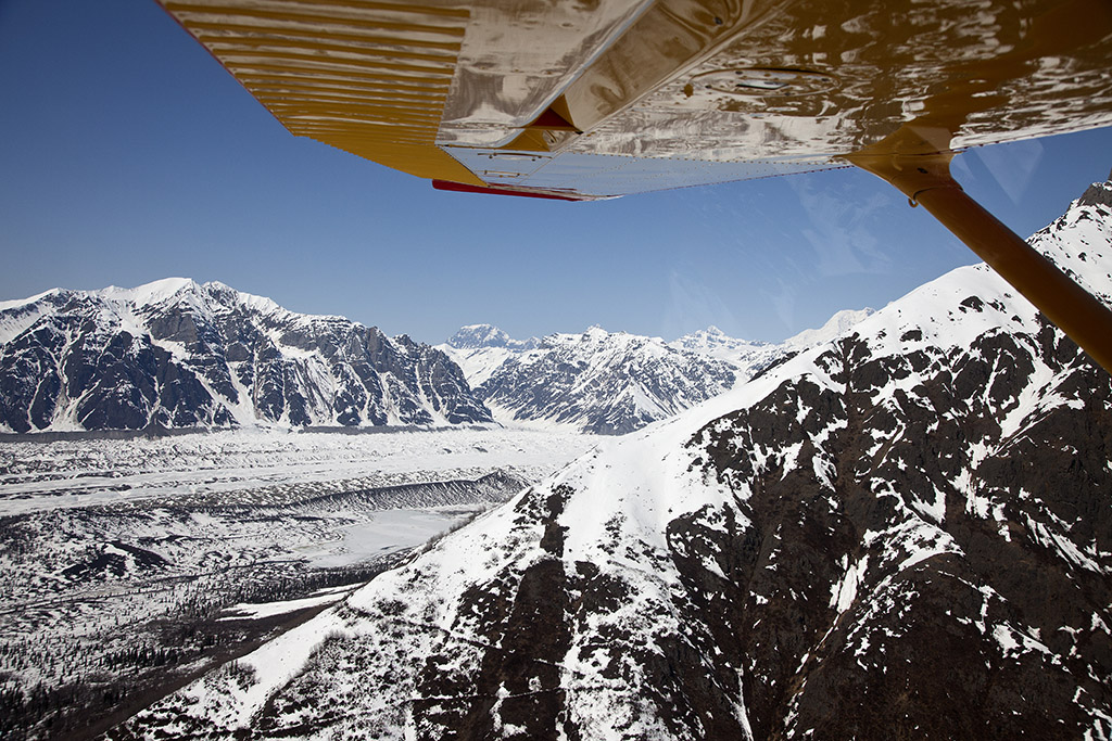 Aerial view of mountains and glaciers near Kennicot