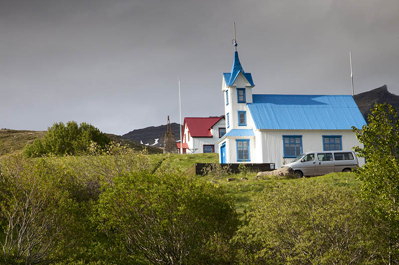 Blue roofed church