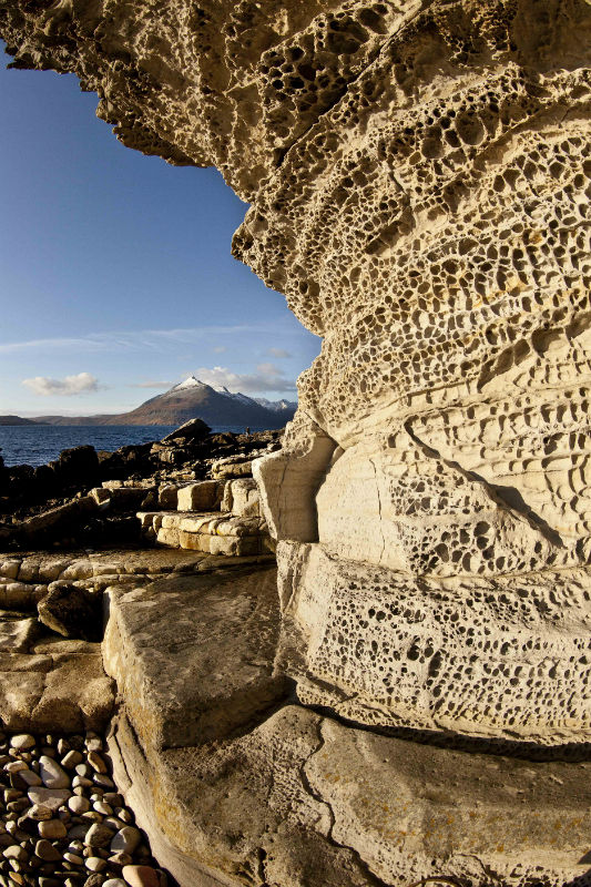 Cuillins and sandstone rock