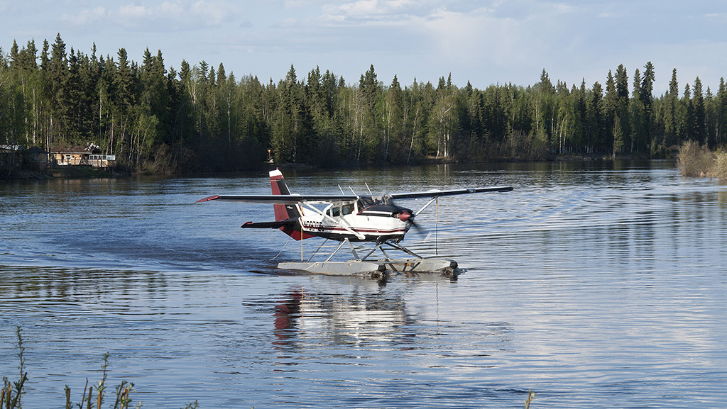 Float plane on river at Fairbanks