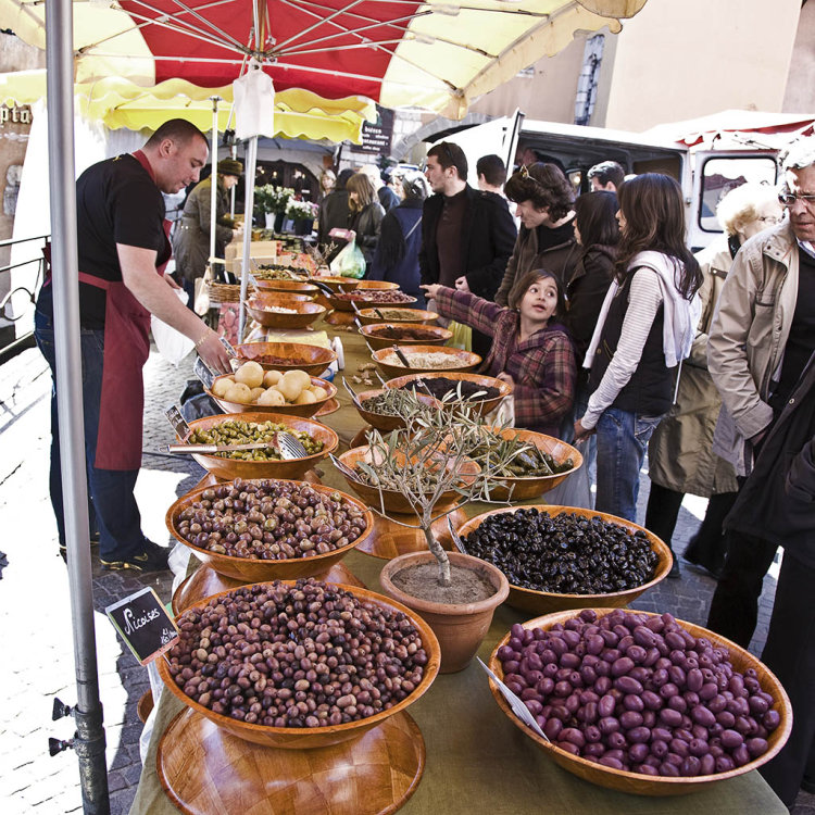 Olive stall, Sunday market, Annecy