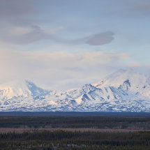 St Elias Wrangle mountains at sunset