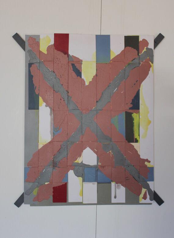 covid 19 :1 acrylic on weaved board 90x75