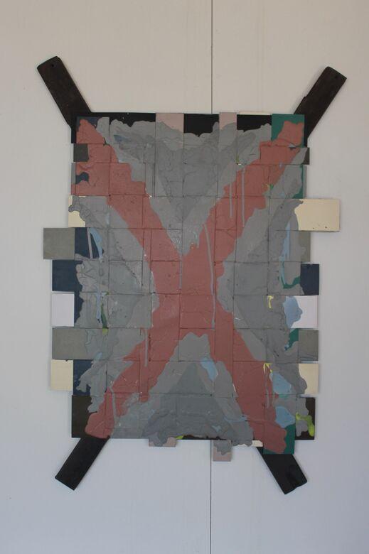 covid 19 :3  acrylic on weaved board  100 x 65