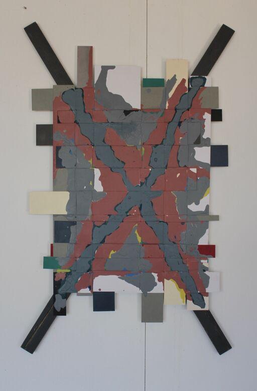 covid 19 :4  acrylic on weaved board  110x68