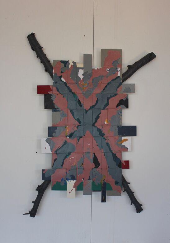 covid 19 :5  acrylic on weaved board  88x60