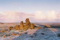 Great Staple Tor moonset, sunrise, winter dusting