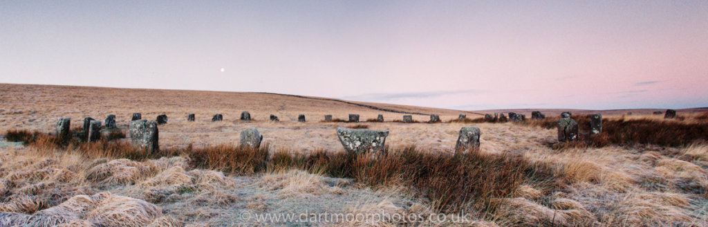 Grey Wethers Double Stone Circle Moonset at Dawn
