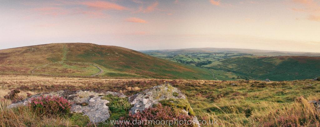 Grimspound dusk with heather