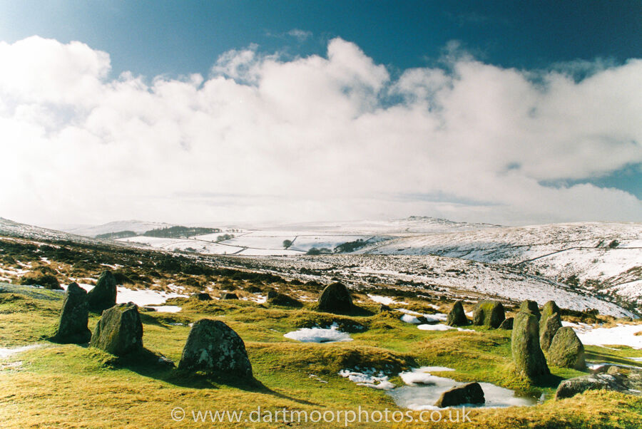 Nine Maidens Stone Circle in winter sun