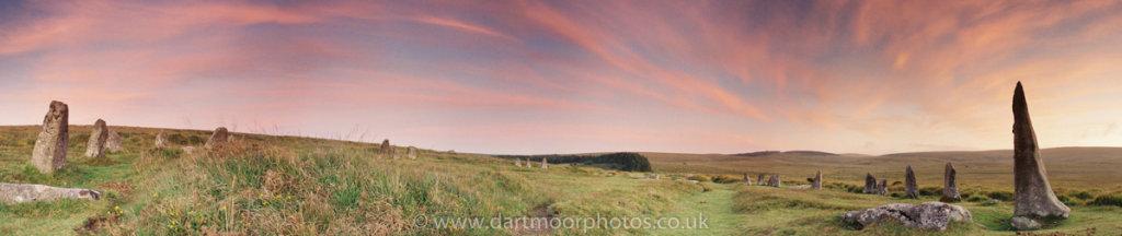 Scorhill Stone Circle dusk panorama