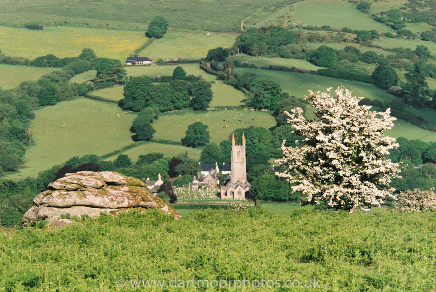 Widecombe-in-the Moor, with May Blossom