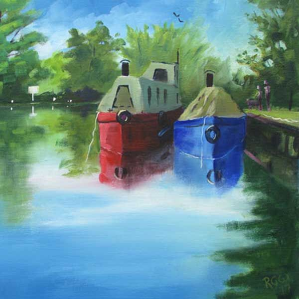 "Moored for the Night - 6x6"" Greetings Card"