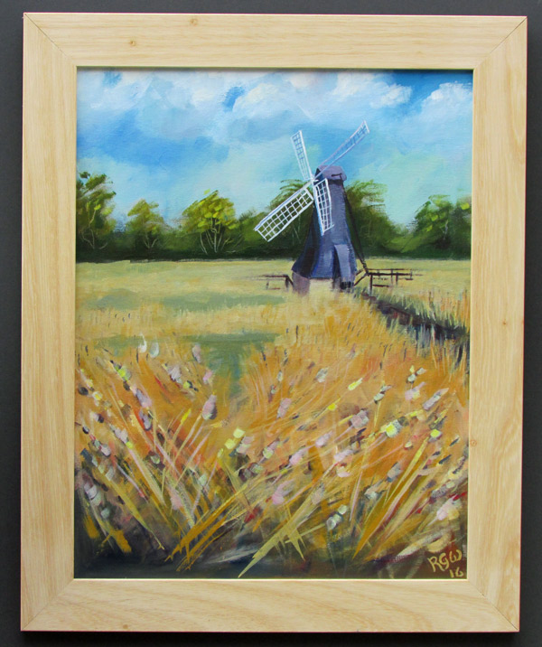Typical Framed Painting in Plain Wood
