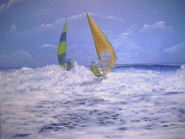 Windsurfers in Blue