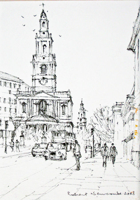 Churches in the Strand -line drawing