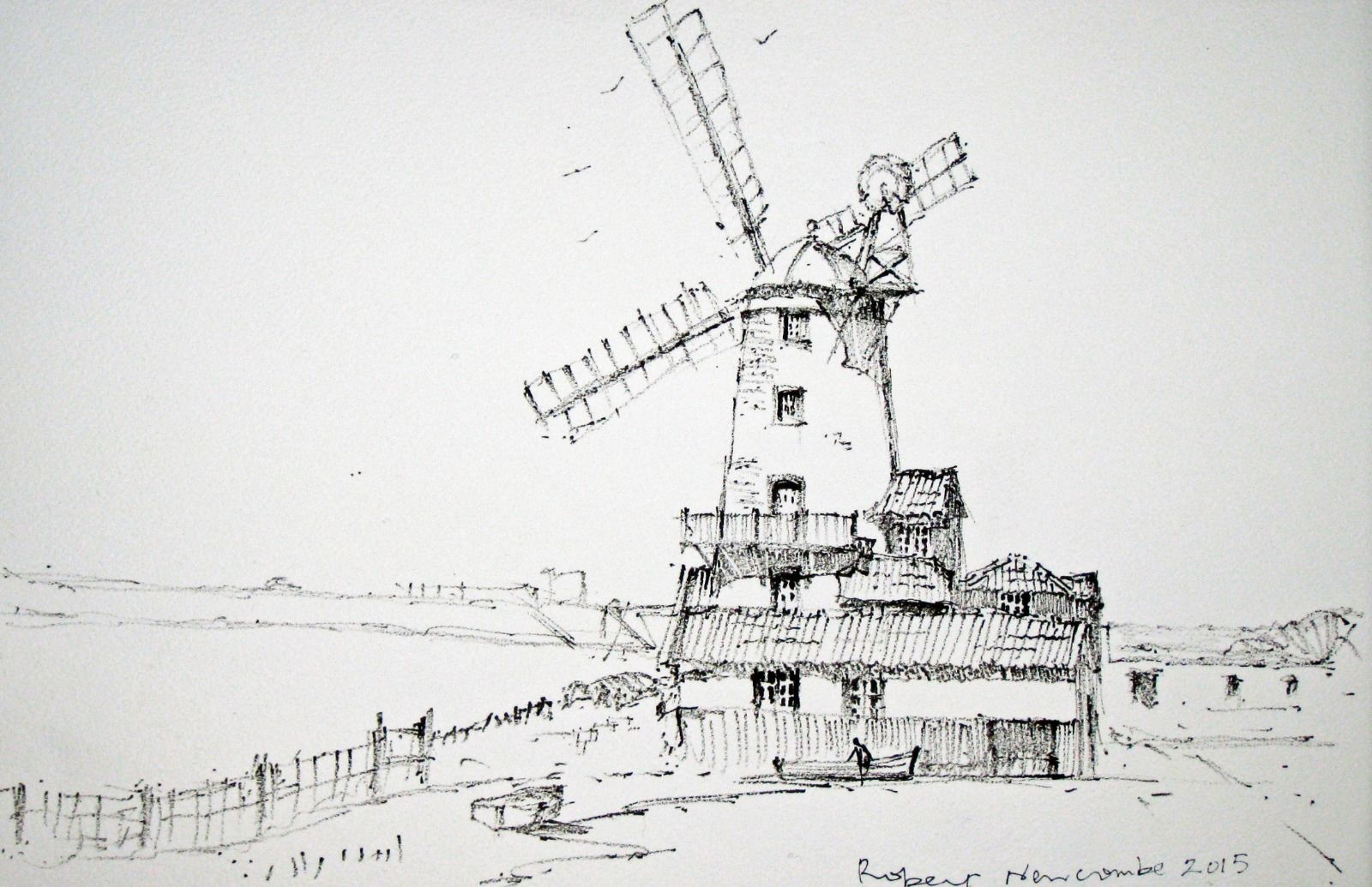 Cley Windmill, Norfolk - Ink Drawing