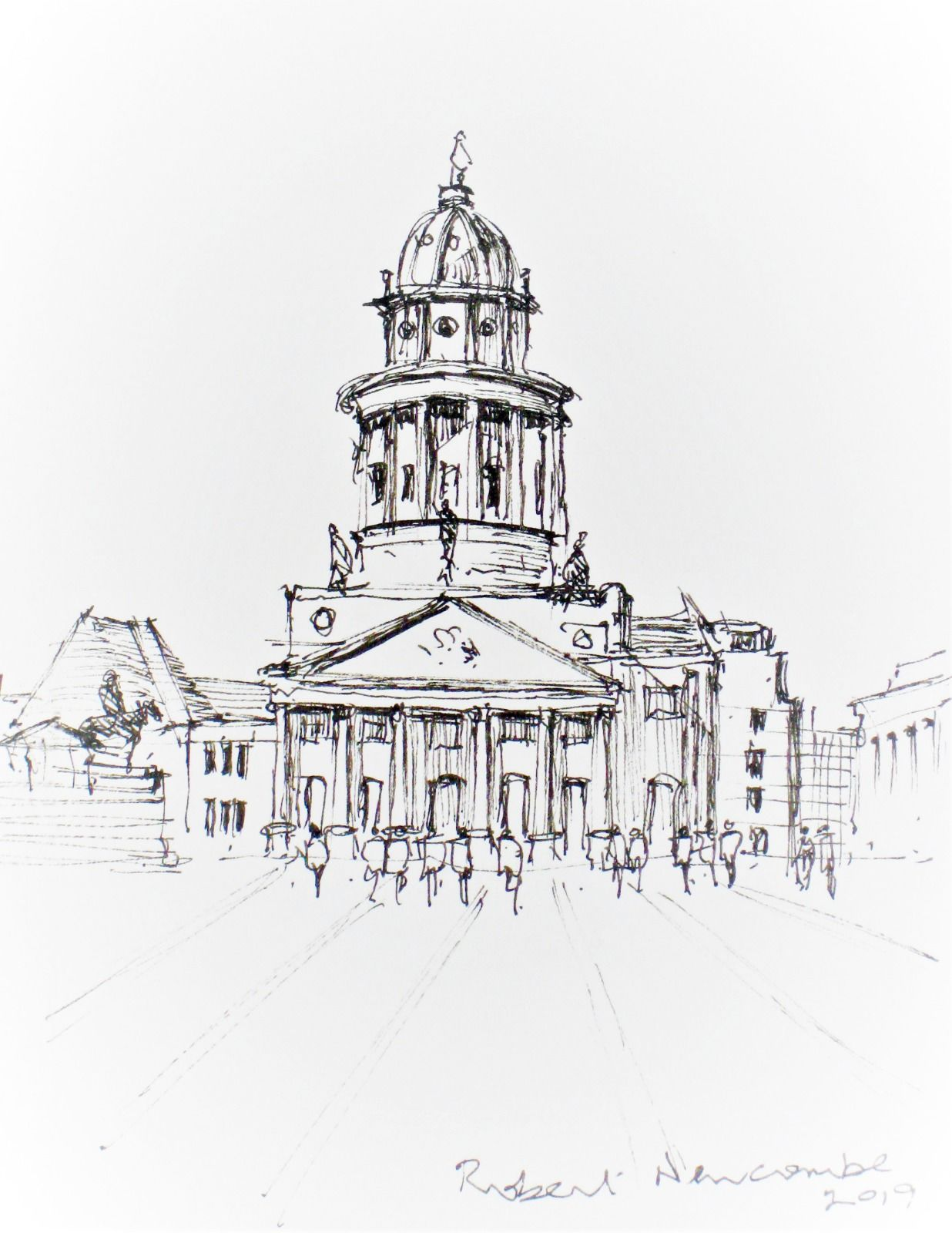 French Church, Berlin -drawing